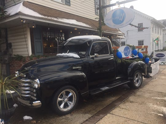 Chef/restaurateur James Malaby bought this 1949 Chevy pickup early last year to promote blueplate and use to pick up  fresh produce from farm partners. It decorated for Christmas out in front of the Mullica Hill restaurant.
