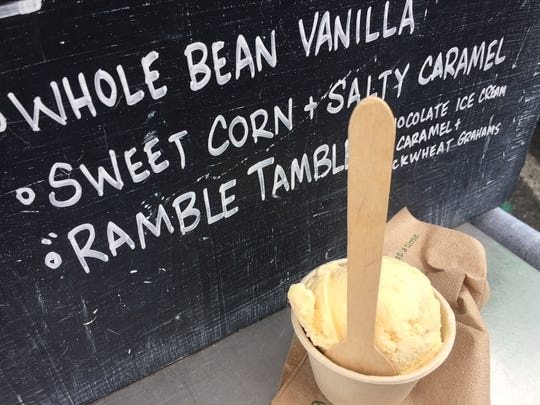 Sweet corn and salty caramel ice cream from Rococo Ice Cream in Maine.