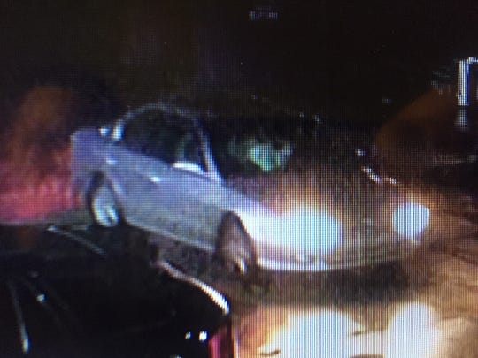 Two suspects involved in a Monday night robbery drove this gray/silver Mitsubishi Galant, police said.