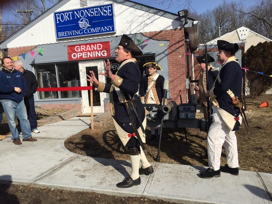 John Lamb's Artillery Company brought a Revolutionary War cannon to the opening of the Fort Nonsense Brewing Company.