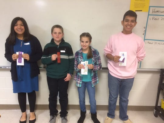 Winners in the middle school divisions of the Robertson