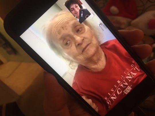 Conversations with a dementia patient by phone are tough, but Facetime helps Britt Kennerly and her mother, Helen, stay in touch.