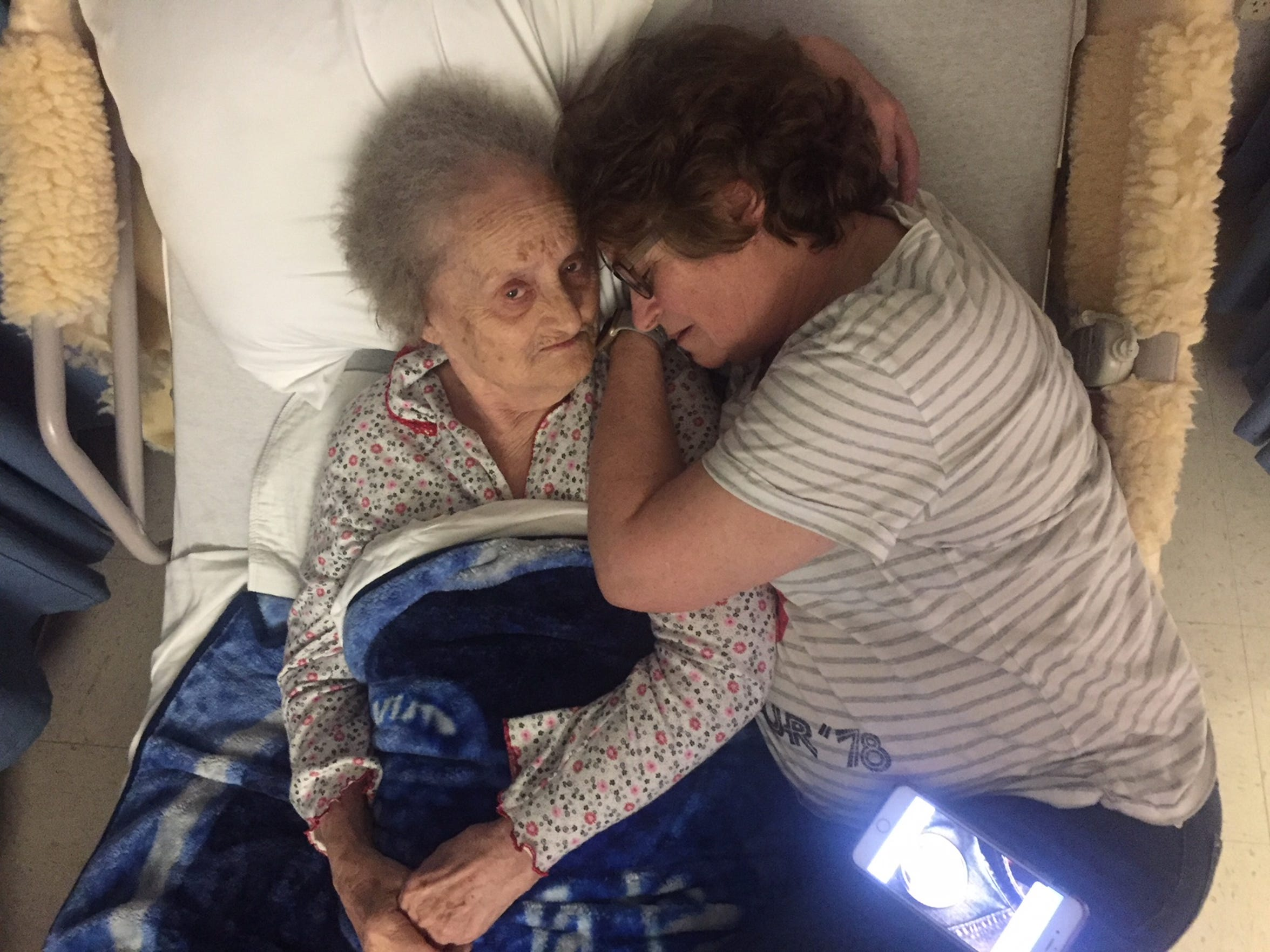 During her first nursing home stay in early 2017, Helen is pictured with her oldest daughter, Linda.