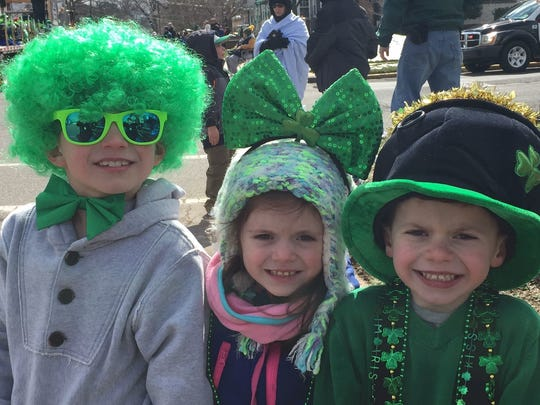 Tino Menendez, Isabella Breece and Lorenzo Menendez enjoyed last year's Woodbridge St. Patrick's Day Parade. The parade returns March 11, as do parades from March 10 to 18 in Morristown, Union, Somerville, Clinton and South Amboy.