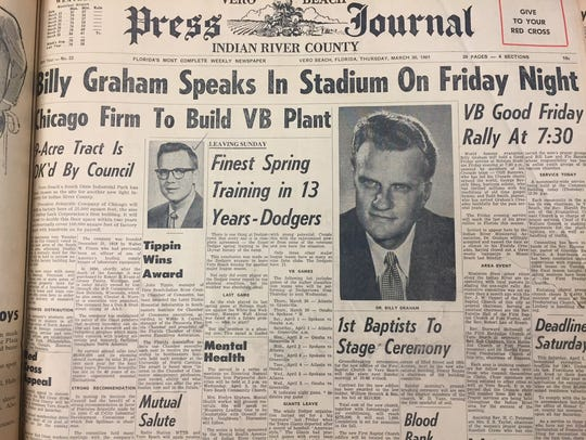 The front page of the March 30, 1961, Press Journal