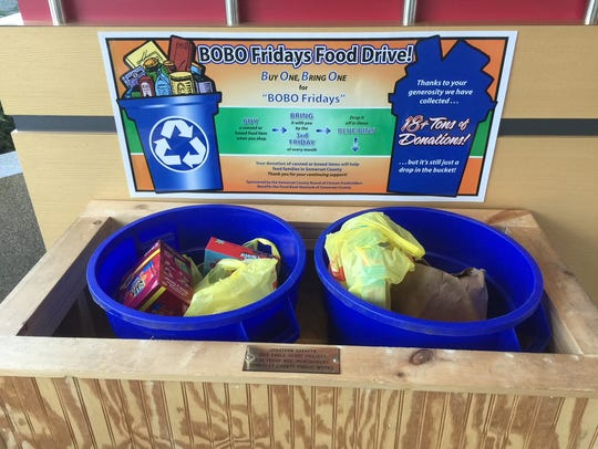 Look for the double BOBO Fridays bins in the lobby