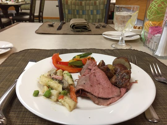Buffet offerings included London broil, seafood pasta primavera, roasted red skinned potatoes and a vegetable medley on a recent trip to Hilltop Cafe.