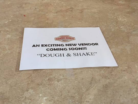 Another sign on the counter at the stand where Dough & Shake will hold a grand opening event on Thursday, April 12 at the Lebanon Farmers Market.
