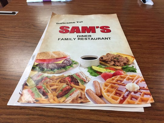 The expansive menu as Sam's Diner features soups and