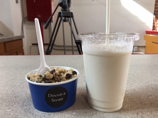 Two scoops of cookie dough (chocolate chip pictured) and a milkshake will run customers less than $10 at Dough & Shake.