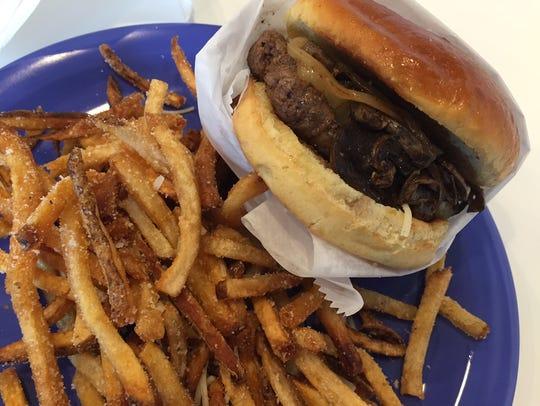 A burger from Bones' Burgers