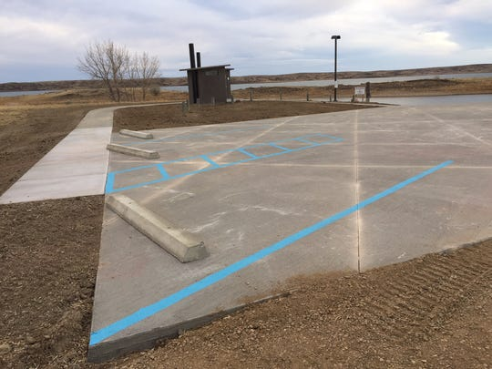 FWP contracted with a construction company to pave the apron above the boat ramp at Fort Peck Reservoir's Duck Creek FAS.