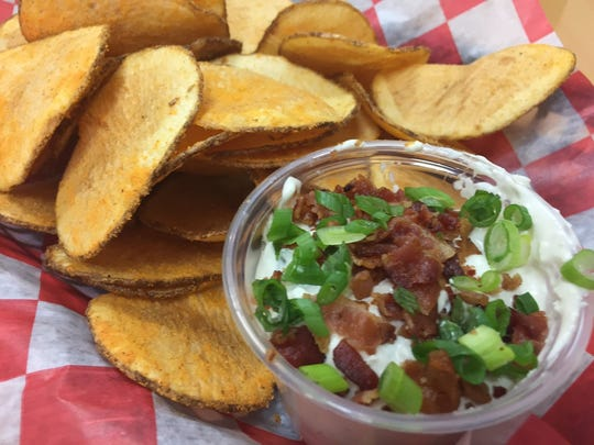 Buffalo Blue Chips are served with a side of bacon
