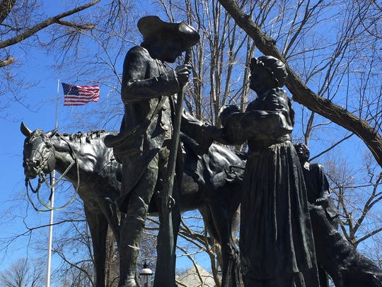 """Patriot's Farewell"" statue, which stands at the front entrance to the Morristown Green."