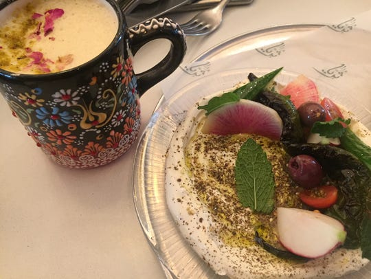 Za'zatar Man'oushe with Labheh and Lebanese Chai Latte