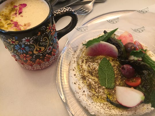Za'zatar Man'oushe with Labheh and Lebanese Chai Latte at Suraya in Phioladelphia.