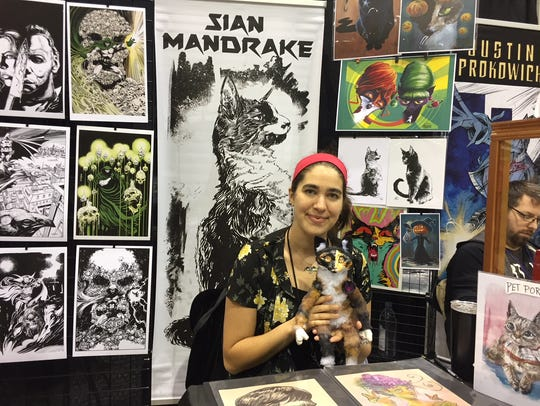 Artist Sian Mandrake from Budd Lake with Harvey the