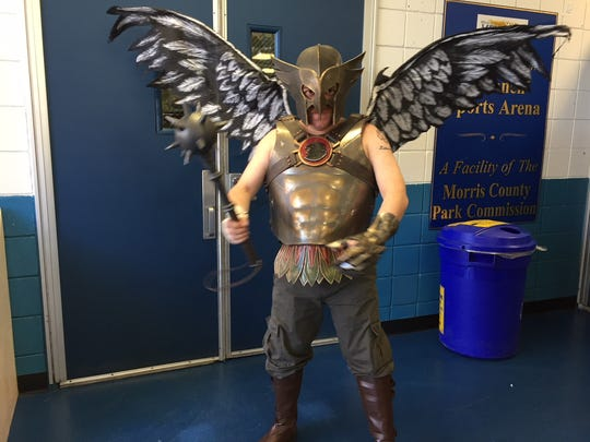 Cosplayer Andres Feliciano of Clifton in his homemade Hawkman suit, complete with movable wings at the Garden State Comic Fest on Saturday, July 7, 2018 at Mennen Arena.