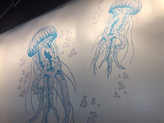 Giant murals of sea creatures, including jelly fish,