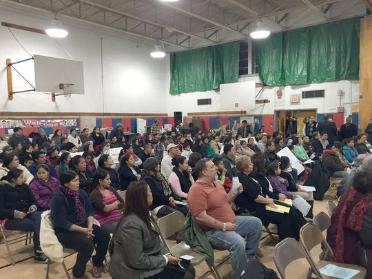 Local residents show up to attend the East Ramapo school board meeting.