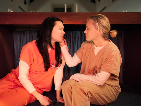 Laura Prepon, left, and Taylor Schilling appear in a scene from the Netflix series 'Orange Is the New Black.'