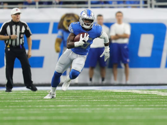 Detroit Lions running back Theo Riddick during a NFL football game vs. the Arizona Cardinals on Sunday, Sept. 10, 2017, in Detroit.