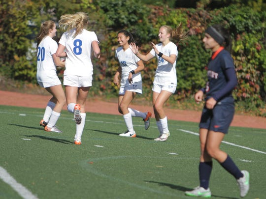 Bronxville celebrates after a goal from Rachael Peacock (14) during a Section 1, Class B girls soccer quarterfinal game between Bronxville and Briarcliff at Bronxville High School on Tuesday, Oct. 25th, 2016. Bronxville won 4-1.