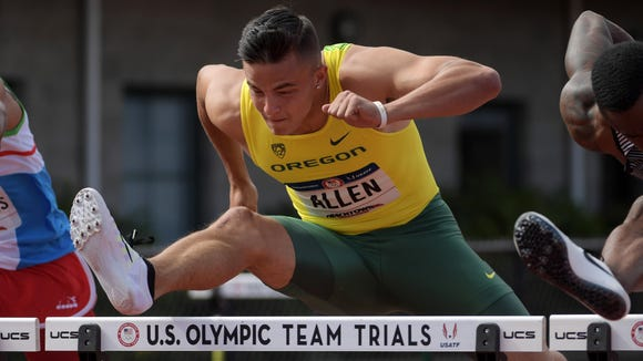 Devon Allen of Oregon wins 110m hurdles semifinal in 13.40 during the 2016 U.S. Olympic Team Trials at Hayward Field.