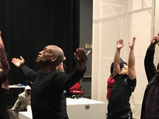 Bill T. Jones leads a rehearsal for We Shall Not Be Moved.