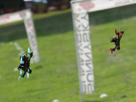 The first Buckeye Fling Drone Race took place at Pleasant Hill Lake Park by the beach on Saturday