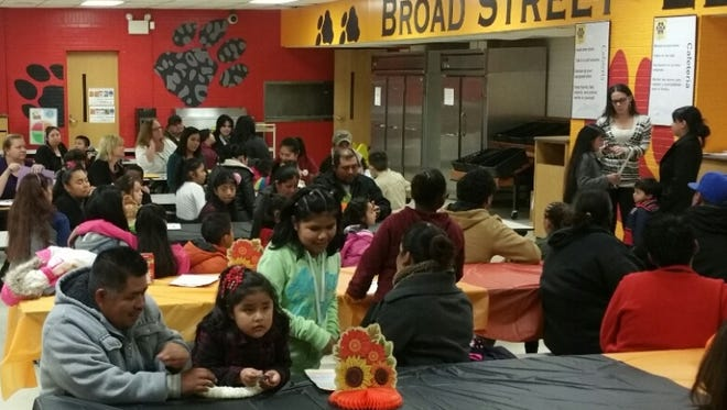 """Broad Street School's first """"Evening of Thanks"""" offered the school's fourth graders an opportunity to display their writing skills and practice public speaking."""