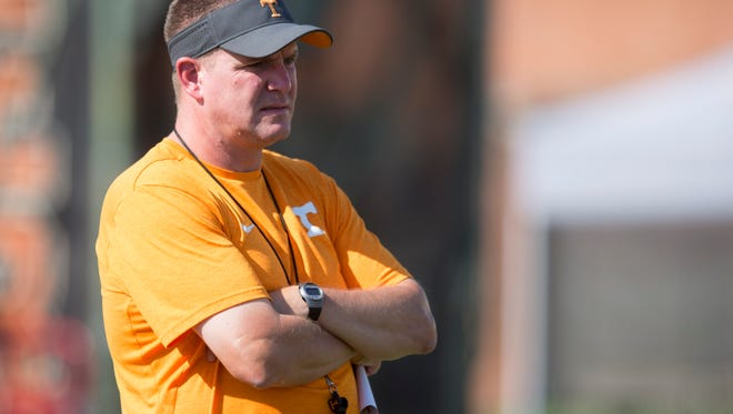Tennessee defensive coordinator Bob Shoop during practice on Tuesday, September 13, 2016.