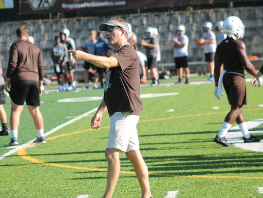 Roger Bacon coach Mike Blaut fires off instructions