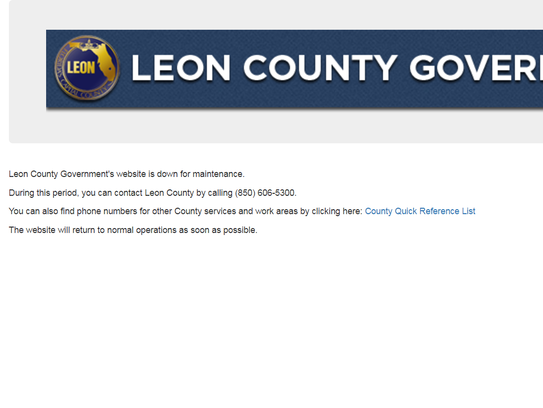 """The county website remains """"down for maintenance"""" following"""