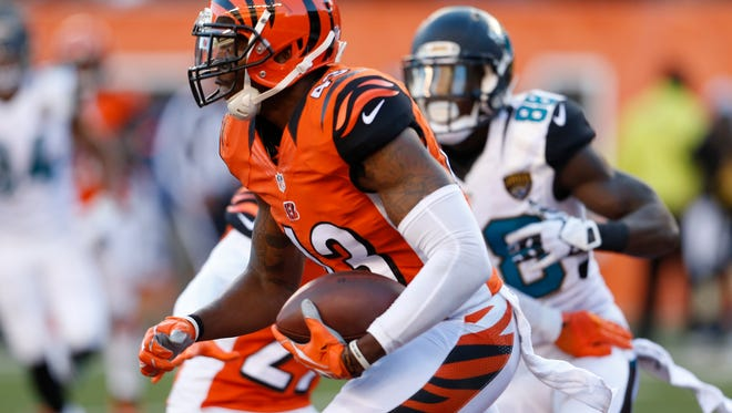Bengals strong safety George Iloka returns an interception against the Jaguars on Nov. 2.