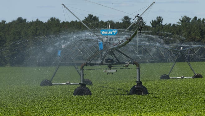 An irrigation system waters crops in Coloma, in the Central Sands region, 1.75 million acres in central Wisconsin where there is a large concentration of high-capacity wells used for irrigation.