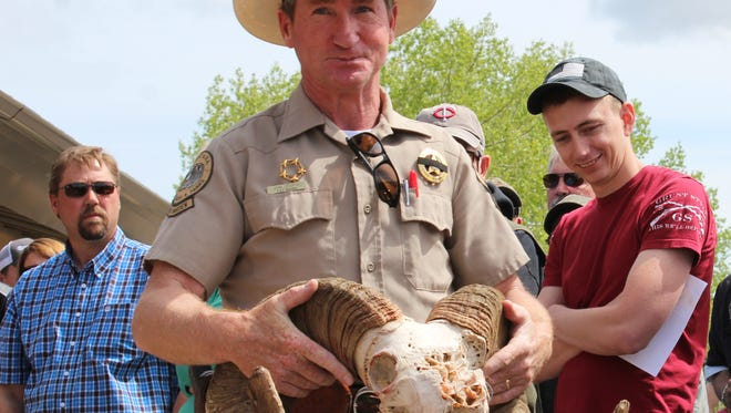 Fish, Wildlife and Parks warden John Lesofski hold and Big Horn sheep head for bidders to inspect at Saturday's FWP wildlife auction