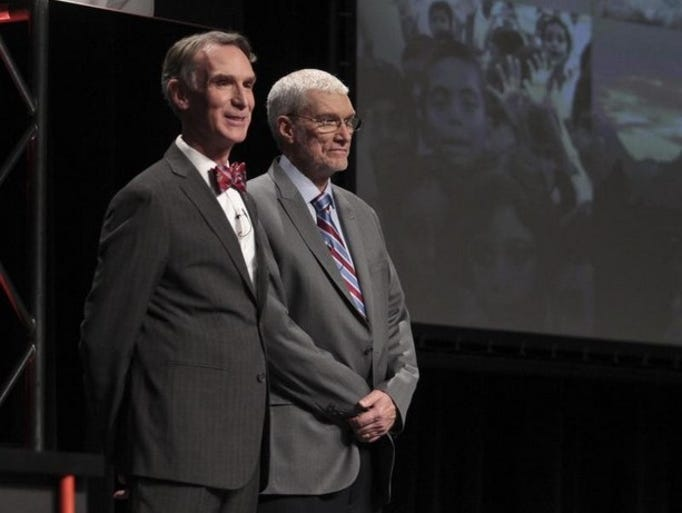 Bill Nye and Ken Ham stand together before the Creation Debate at the Creation Museum in Northern Kentucky.