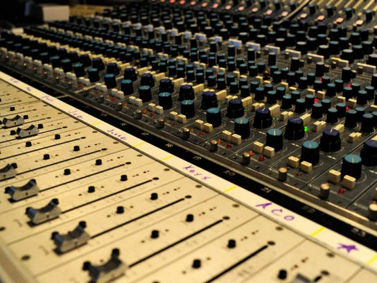 Knobs and dials on the Neve 8058 vintage recording