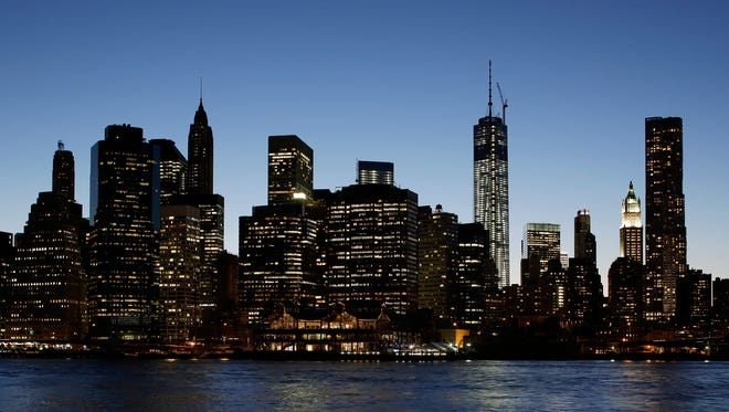 One World Trade Center, center right, towers above the lower Manhattan skyline in New York City.