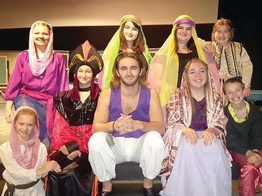 Fairview youth performing in Aladdin Jr at Dickson Renaissance Center - Front row - Sophia Dickson, Reyna Sands, Coltyn Sands, Tristan Goree, Levi Mangrum; back row - Heather Eikel, Hayley Johnson, Anna Jones, and Emme Rueff.