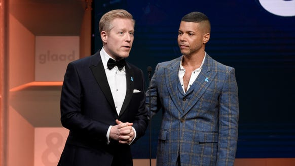 Anthony Rapp, left, and Wilson Cruz presented together at the 29th annual GLAAD Media Awards at the Beverly Hilton Hotel.