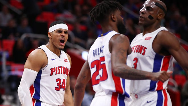 Pistons forward Tobias Harris reacts to the 104-101 win over the Knicks on Friday, Dec. 22, 2017, at Little Caesars Arena.