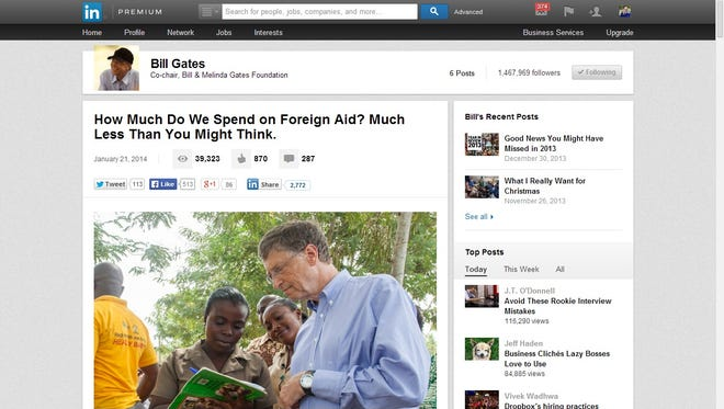 A screen shot of professional networking site LinkedIn, showing Bill Gates' post on foreign aid.