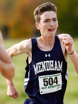 Mendham sophomore Jack Jennings comes into the finish during the NJSIAA North 2 Group III cross country championships at  Central Park of Morris County. November 4, 2017. Morris Plains, New Jersey