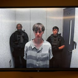 File photo of Dylann Roof appearing at a bond hearing in North Charleston, S.C., on June 17.