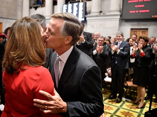 Gov. Bill Haslam stops to kiss his wife, Crissy, before delivering his State of the State address at the state Capitol on Jan. 29, 2018.