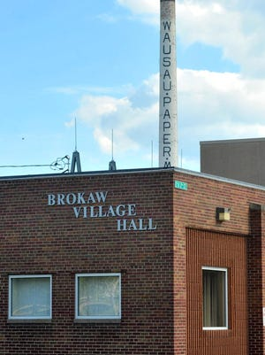 Brokaw's village hall in front of the old paper mill photographed June 2015.