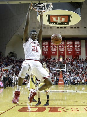 Indiana Hoosiers center Thomas Bryant (31) slams down two points in the first half of their B1G men's basketball game Sunday, Mar 6, 2016, afternoon at Assembly Hall in Bloomington. The Indiana Hoosiers defeated the Maryland Terrapins 80-62.
