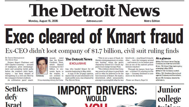 The front page of The Detroit News on Aug. 15, 2005.